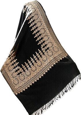"Black Wool Shawl Plain Indian Wrap or Stole Pashmina Style 80/""x28/"""