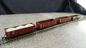 Minitrix-Spur-N-Konvolut-mit-4-Hochbordwagen-T423-Gebraucht-Guter-Zustand