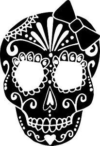 ca4d85cfe51eb Sugar Skull Female Window Wall Decal Tattoo Art Mexican Catholic All ...