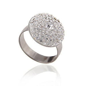 Stainless Steel Women Ring Ball Style with Quality Rhinestones Size M O Q  FR97