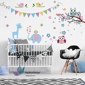 Cherry-Flower-Owl-Giraffe-Elephant-nursery-Kid-Baby-Girl-Boy-wall-Decal-sticker