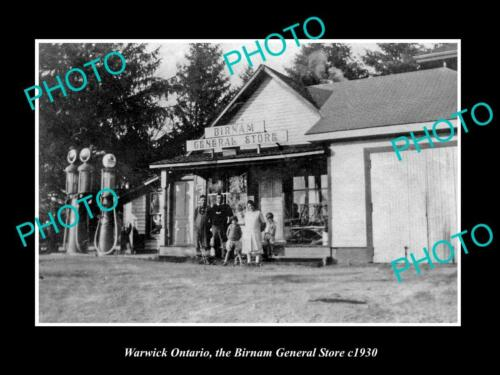 OLD 8x6 HISTORIC PHOTO OF WARWICK ONTARIO, THE BIRNAM GENERAL STORE c1930