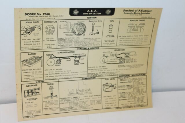 1948 DODGE SIX CYLINDER TUNE UP CHART W/WIRING DIAGRAMS | eBay