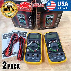 2PACK-Digital-Multimeter-XL-830L-LCD-Voltmeter-Ammeter-Ohmmeter-OHM-VOLT-Tester