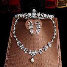 Vintage Wedding Bridal Crystal Pearls Crown Tiara Necklace Earrings Jewelry Set