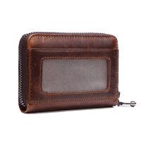 Vintage Men's Cowhide Credit Card Case Purse Genuine Leather Zip-Around Wallet