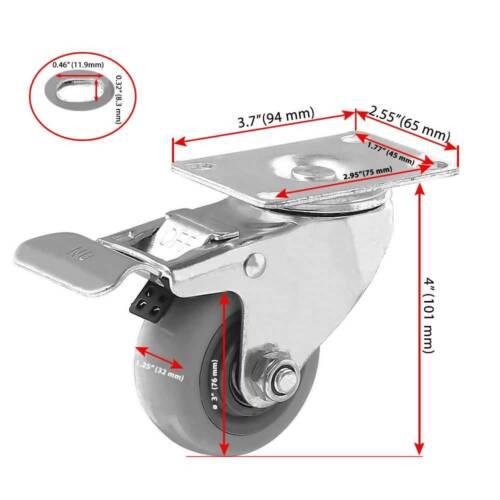 "Lot of 12 3/"" Caster Wheels Swivel Plate Casters On Grey PU Wheels Combo"