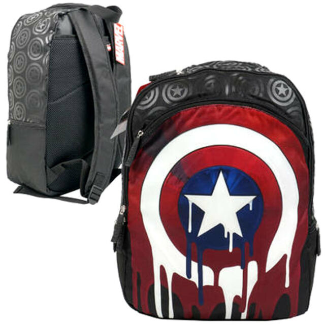 Marvel Captain America Chris Evans Logo Drip Shield 17 Laptop Backpack Book Bag