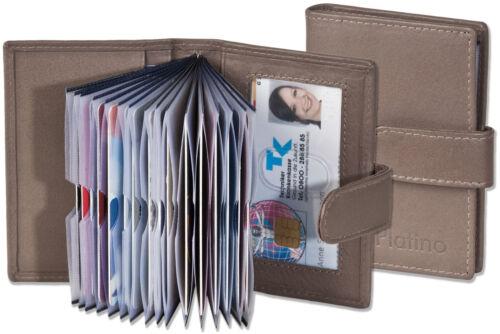 Platino Étui Porte Cartes de Crédit en Gris Avec Renforcé Compartiments Fin Cuir
