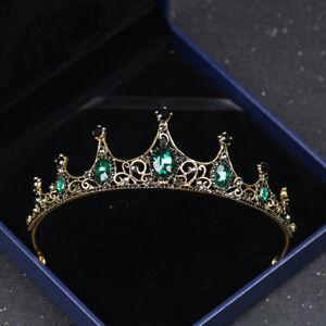 Wedding-Bridal-Crystal-Pearl-Green-Queen-Crown-Tiara-Hair-Accessories-Headband