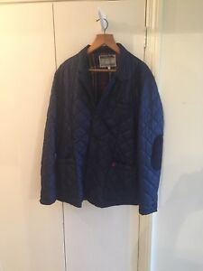 JOULES-NAVY-BLUE-QUILTED-JACKET-CHECK-LINING-Size-XL-034