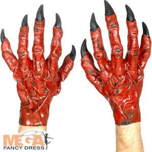 Red Gloves Demon Horror Halloween Mens Fancy Dress Costume Devil Hands Latex