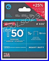 Genuine Arrow Staples T50 3/8 1,250 Box 506 Made In Usa Free Shipping