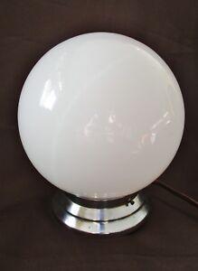 ancien-plafonnier-lustre-boule-opaline-art-deco-electrique-suspension-chrome
