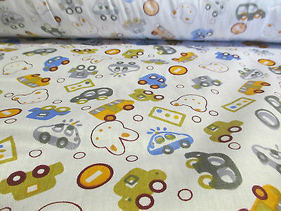 """2 Metres White """"Bunnies & Cars"""" Children's Printed 100% Cotton Fabric. 58"""" Wide."""