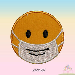 White Face mask Smile Face covered Emoji Embroidered Iron On Patch Sew On Badge