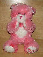 """Build A Bear Kisses Fur You Pink White Heart Plush Magnetic Hands/Paws 16"""" For"""