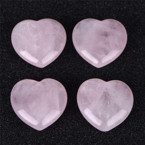 Natural Rose Quartz Crystal Carved Heart Shaped Love Palm Healing Gemstone Pink