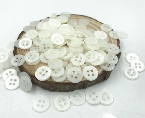 1000X Blanc Rond en Résine 4 trous Boutons Coupe Couture Scrapbooking Artisanat 11 mm
