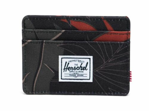Herschel Charlie RFID Wallet Geldbörse Dark Olive Palm Schwarz Rot Neu