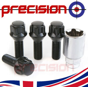 Black-Chrome-Locking-Wheel-Nuts-Bolts-and-Key-BMW-1-Series-2003-to-2012