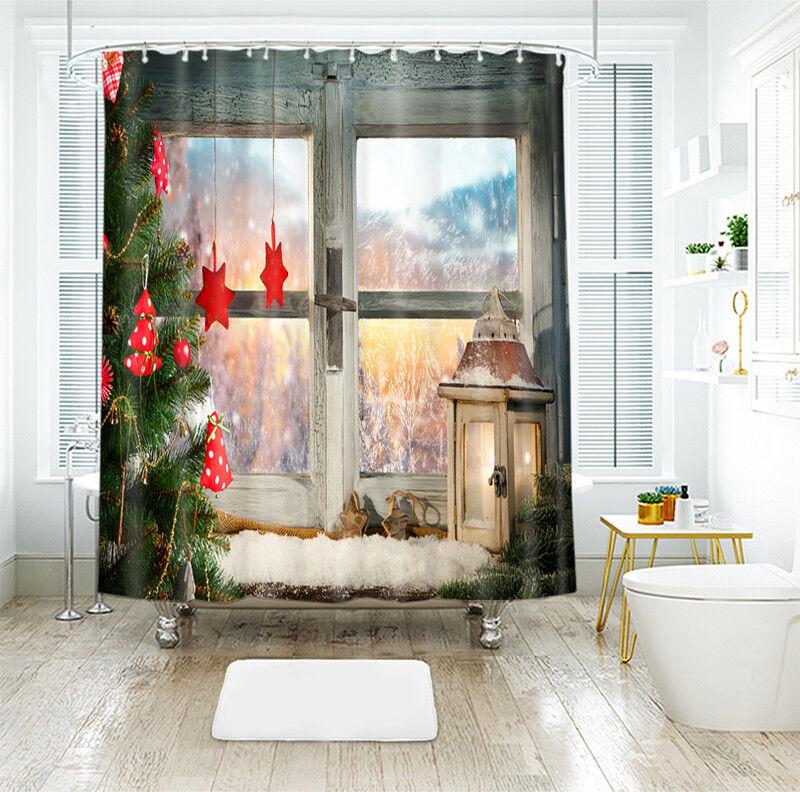 3d navidad Xmas 262 cortina de ducha impermeable fibra baño en casa de Windows
