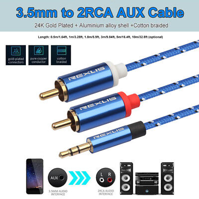 1.8m Durable Length 3.5mm Male to Dual RCA Gold-Plated Plug Blue Cotton Braided Audio Cable for RCA Input Interface Active Speaker