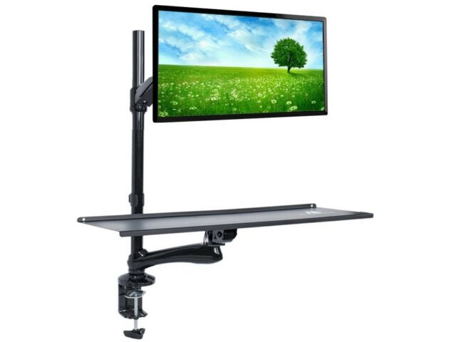 Pc Monitor Mount Stand Desk Keyboard Lcd Workstation Screen Arm