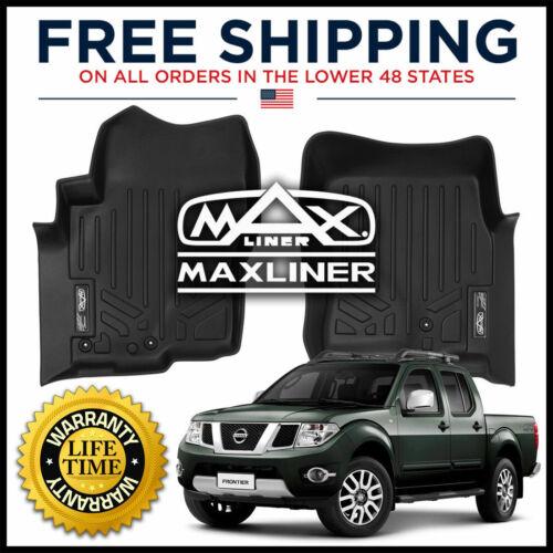 MAXFLOORMAT Front 1st Row Floor Liner Mats BLACK For Nissan Frontier 2008-2019