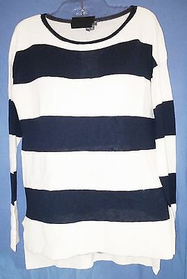 VINCE Sweater -  Wool Cashmere Blend - Black & White Striped ($345 Retail) Small