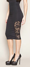 QUONTUM Midi Skirt w/ Lace Insert in Black L Large UK 12/14 (f169)