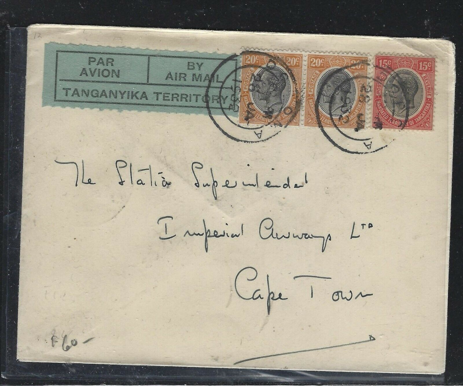 TANGANYIKA (P0302B)   1932 KGV  15C+20CX2 A/M TO SOUTH AFRICA