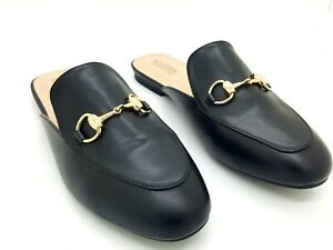 CATHERINE-MALANDRINO-PENDA-Mules-Slides-Flats-Black-Synth-Buckle-Slip-On-Size-10