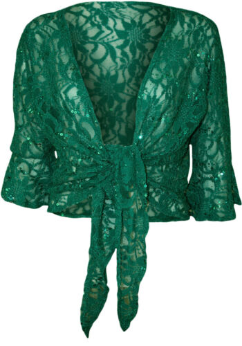Womens Ladies Plus Size Floral Sequin Lace 3//4 Flared Sleeve Tie Shrug Cover Up