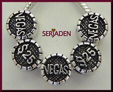 5 Vegas $25 Coin Antique Silver Bead fits European Style Charm Bracelet S125