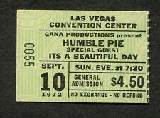 1972 Humble Pie Concert Ticket Stub Las Vegas Steve Marriott 30 Days In The Hole