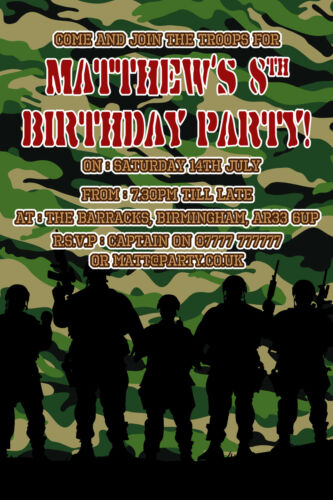Army Party Invites Personalised Army Photo Party Invitations x10 Army/_3