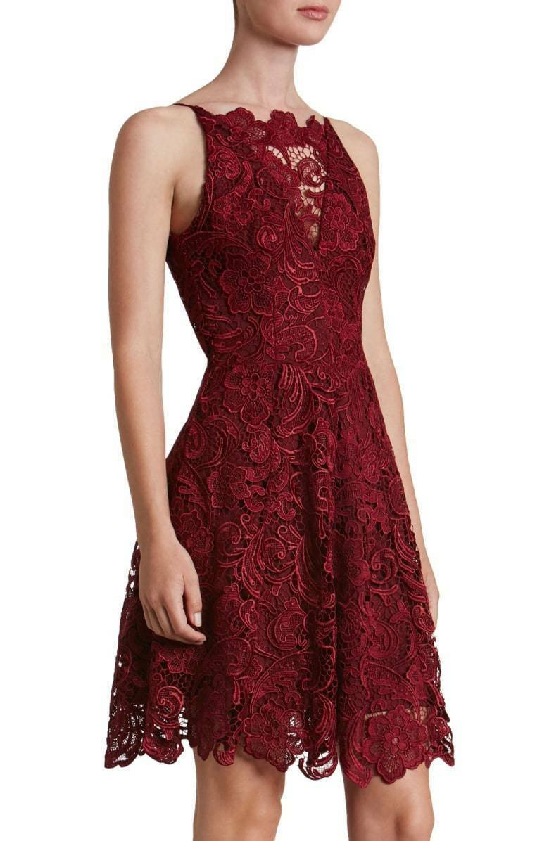 DRESS THE POPULATION HAYDEN LACE FIT FLARE BERRY DRESS sz M