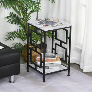 Modern Faux Marble Living Room Accent Side Coffee Table End Desk w/Metal Frame
