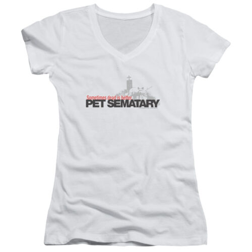 Pet Sematary Movie LOGO Sometimes Dead is Better Juniors V-Neck Tee Shirt