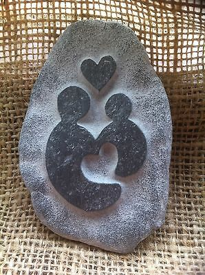 Mummy & baby pebble design, hand carved gift, perfect for Mummy or Daddys