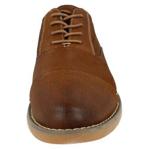 MENS THOMAS BLUNT LACE UP ROUND TOE BURNT SHED LEATHER SMART FORMAL SHOES A2139