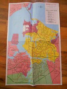 """Old Vintage 1980 Color Art Map Norfolk Virginia Beach Hampton & Vicinity 17"""" 11"""""""