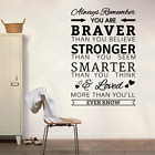 Quote Vinyl Wall Art Sticker - Always Remember, You Are Braver Than You Believe,