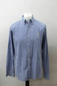 POLO-BY-RALPH-LAUREN-Men-039-s-Blue-White-Cotton-Slim-Fit-Checked-Casual-Shirt-XL