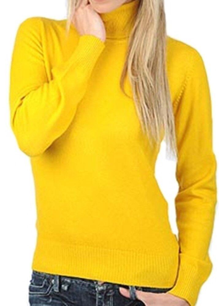 Balldiri 100% Cashmere Damen Pullover Rollkragen mit Bündchen sonnenblumengelb M