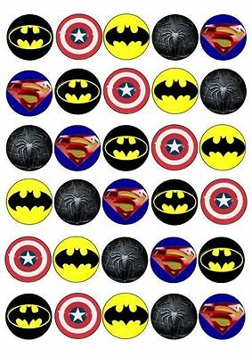 30 X AVENGERS LOGOS IMAGES EDIBLE CUPCAKE TOPPERS 190