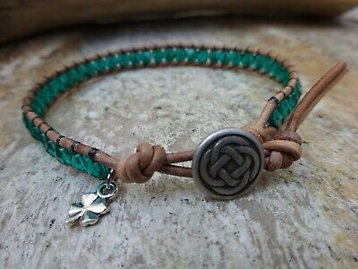 Celtic Jewelry Stainless Steel Irish Leather Cord Bracelet