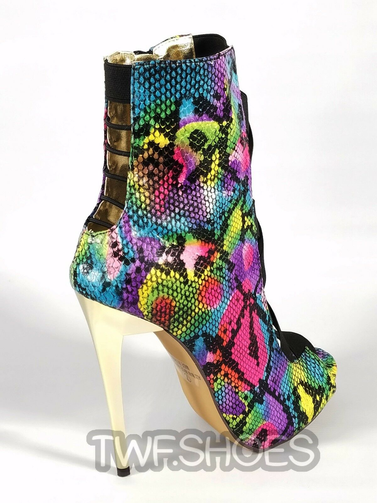 MM Farbeful Rainbow Stiletto Snake Open Elastic Strap Stiletto Rainbow High Heel Ankle Stiefel 6-11 0c508f