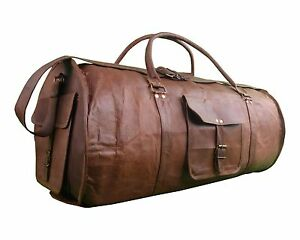 Men s Brown Vintage Genuine Leather Round large Travel Luggage ... a37e6e04eab99